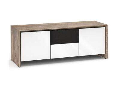 Salamander Barcelona 236 Speaker Integrated Cabinet - Natural Walnut / White Glass