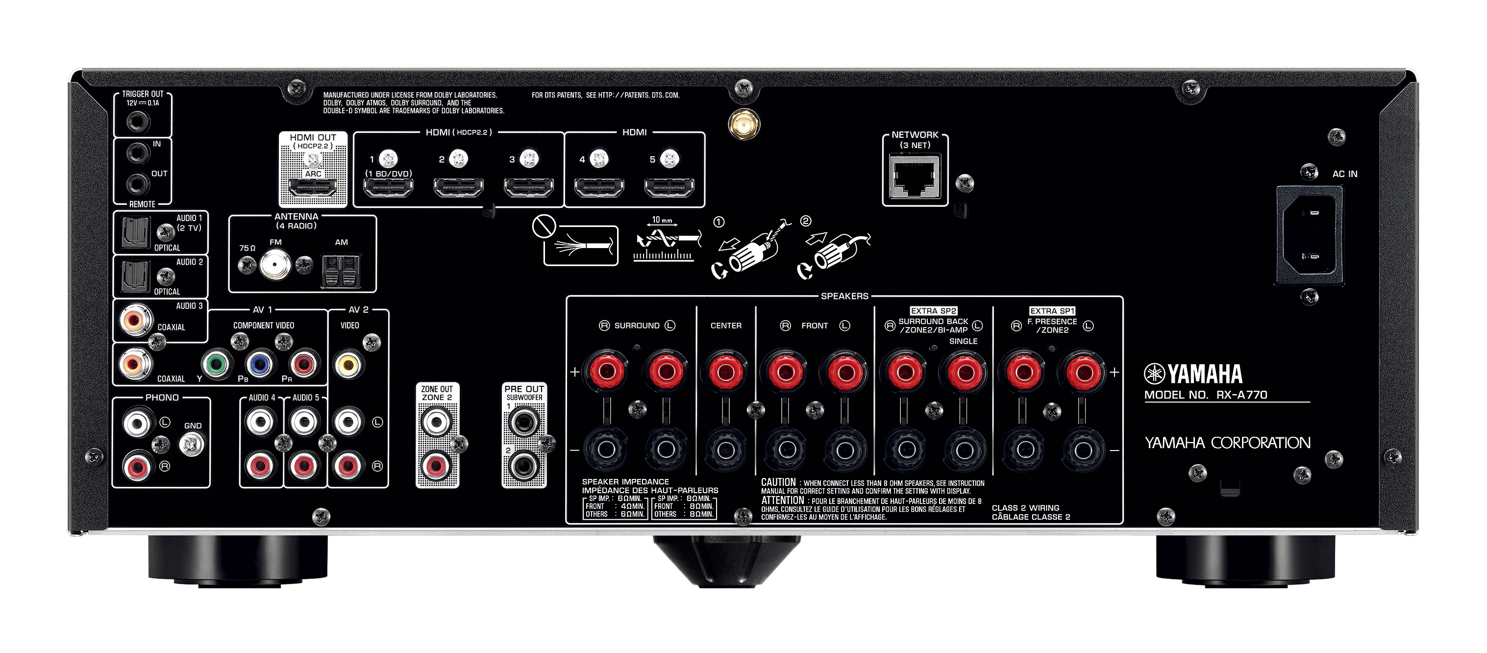 Yamaha Aventage Rx A770 7 2 Channel Av Receiver 90w X 7