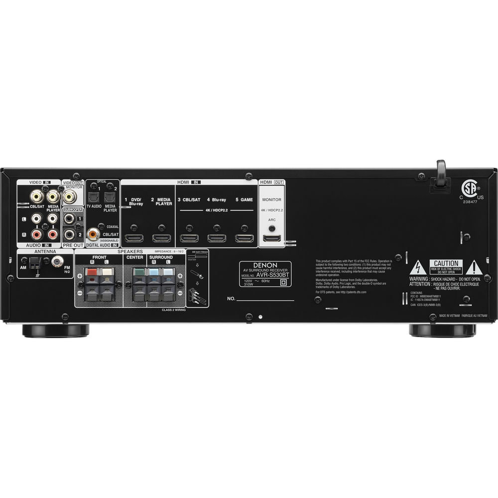 Denon Avr S530bt 52 Channel Full 4k Ultra Hd Av Receiver Power Amplifier Compatible With Tv Audio