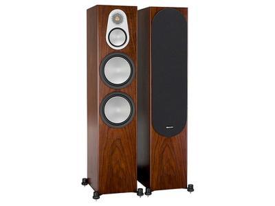 Monitor Audio SILVER 500 3-Way, Four Driver Floorstanding Speaker - Walnut (Pair)